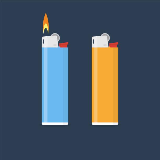 leichtere vektor-illustration im flachen stil - feuerzeuggas stock-grafiken, -clipart, -cartoons und -symbole