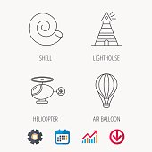 Lighthouse, air balloon and helicopter icons.