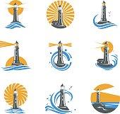 Lighthouse among sea waves vector icons