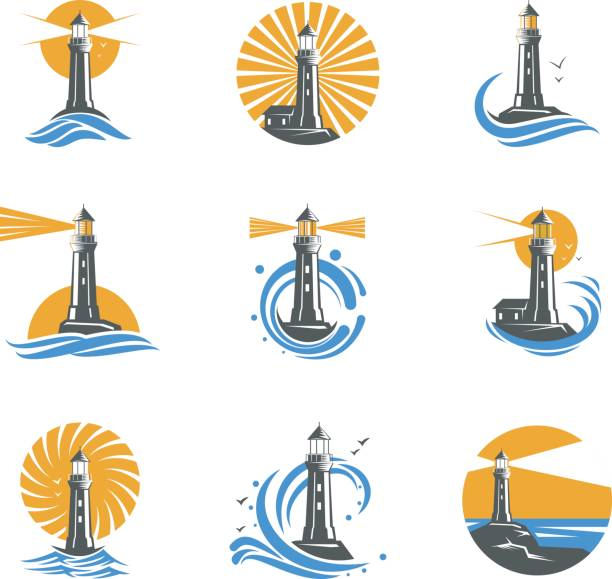 Lighthouse among sea waves vector icons Lighthouse among sea waves vector icons. Coastal towers with a beam of searchlight for marine navigation of ships. Set of black and white lighthouses on a white background. bay of water stock illustrations