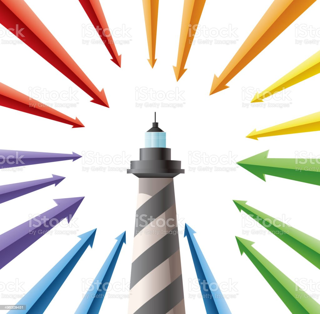 Lighthouse and arrows royalty-free stock vector art