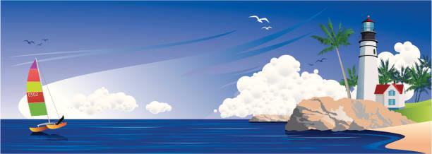 leuchtturm und katamaran - buchten stock-grafiken, -clipart, -cartoons und -symbole
