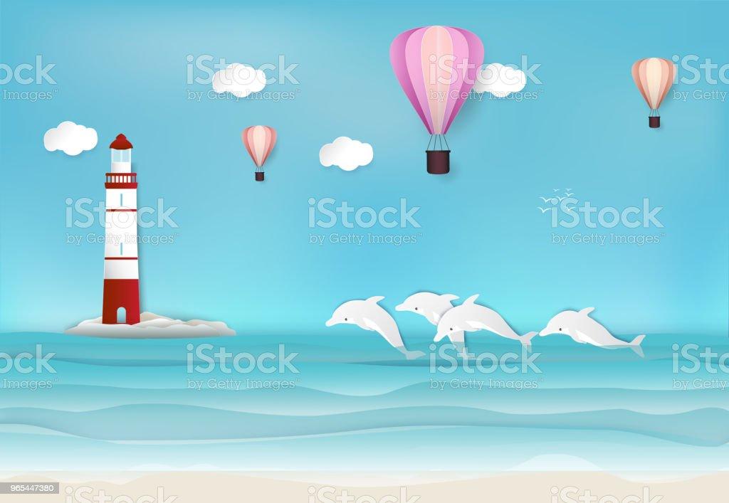 Leuchtturm und Delphin im Meer Hintergrund Papierkunst, Papier Handwerk Stil illustration - Lizenzfrei Baum Vektorgrafik