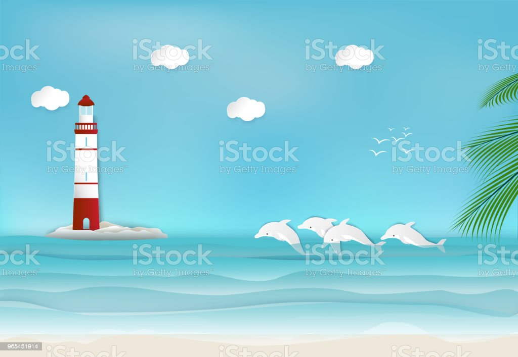 Lighthouse and Dolphin in the sea background paper art, paper craft style illustration lighthouse and dolphin in the sea background paper art paper craft style illustration - stockowe grafiki wektorowe i więcej obrazów delfin royalty-free