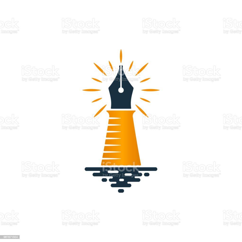 Ilustración de Diseño De Logotipo Faro Y Pluma Fuente y más banco de ...