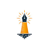 Lighthouse and fountain pen icon on white background. Vector logo design.