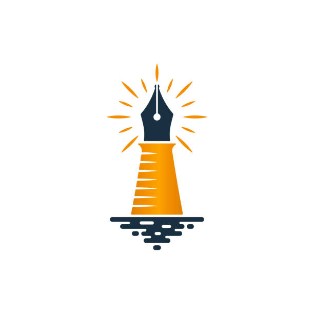 lighthouse and fountain pen logo design - pióro wieczne stock illustrations