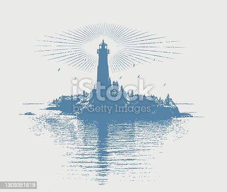 istock Lighthouse and island 1309351619