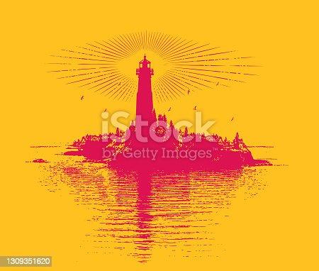 istock Lighthouse and island 1309351620