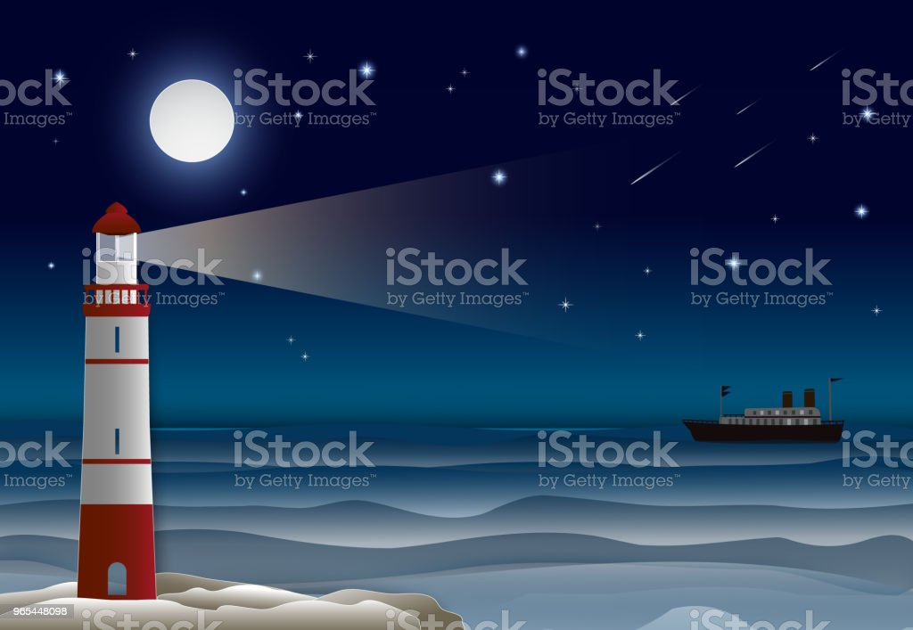 Lighthouse and Ocean liner in the ocean night sky. Paper craft illustration background. lighthouse and ocean liner in the ocean night sky paper craft illustration background - stockowe grafiki wektorowe i więcej obrazów bez ludzi royalty-free