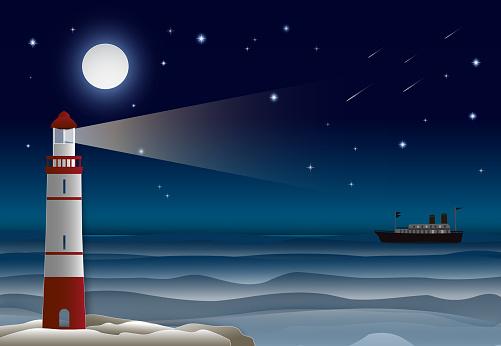 바다 밤 하늘에서 등 대와 바다 라이너 종이 공예 그림 배경 0명에 대한 스톡 벡터 아트 및 기타 이미지