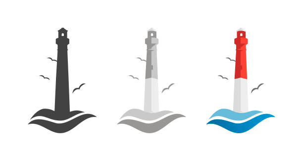stockillustraties, clipart, cartoons en iconen met vuurtoren en oceaan golven. logo icoon. set in platte stijl. lighthouse stijlvol design. vector illustratie - newspaper beach