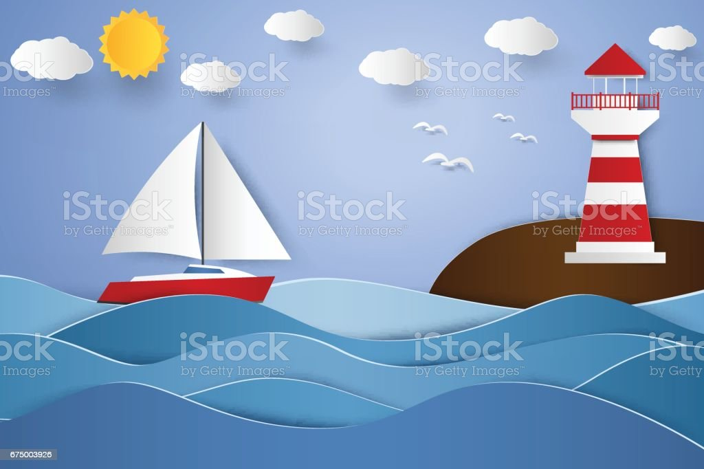 lighthouse and sailboat with seascape vector art illustration