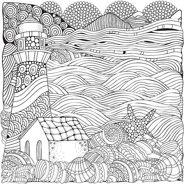 Lighthouse And Shells Seascape Coloring Book Page For Adult Vector Art Illustration