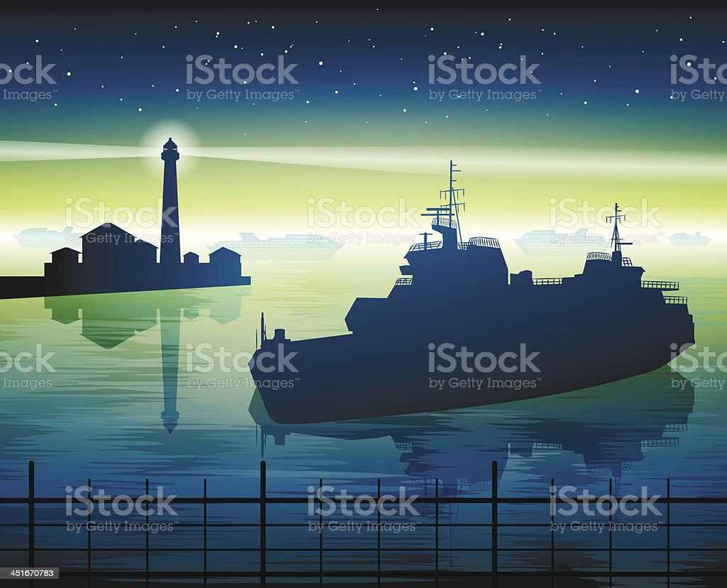 lighthouse and ship royalty-free stock vector art