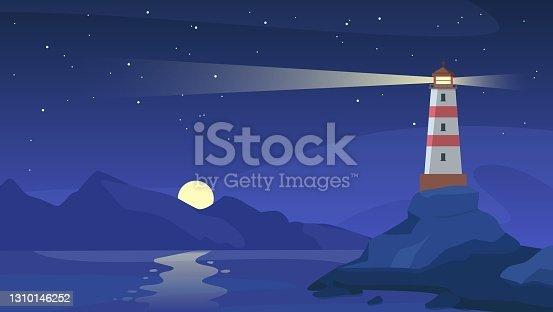 istock Lighthouse at night. Sea beacon with beam on rocky coast. Cartoon navigation light tower on seashore, starry sky and ocean vector landscape 1310146252