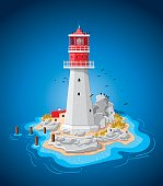 Hand-drawn Vector Illustration of a fictional island with a lighthouse. The background is on a separate layer, so you can use the illustration on your own background. The colors in the .eps-file are ready for print (CMYK). Included files: EPS (v8) and Hi-Res JPG.
