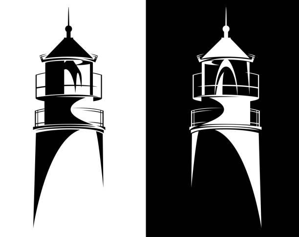 lighthouse black and white vector symbol lighthouse tower from Baltiysk (Kaliningrad region) black and white vector silhouette design lighthouse stock illustrations
