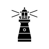 Lighthouse black glyph icon. Traditional maritime navigational landmark silhouette symbol on white space. Warning sign for sailors. Tall building with bright searchlight vector isolated illustration