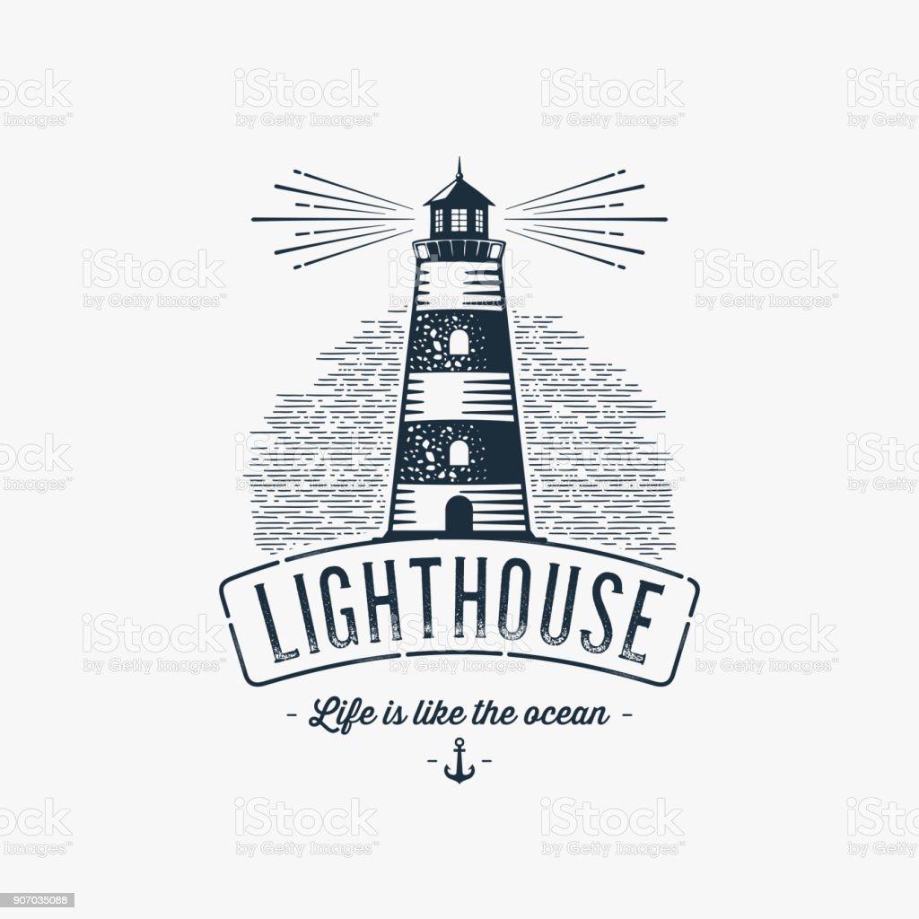 Leuchtturm blau grau – Vektorgrafik
