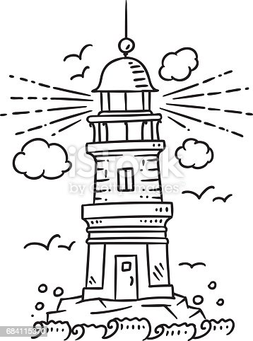 Lighthouse building on the rock