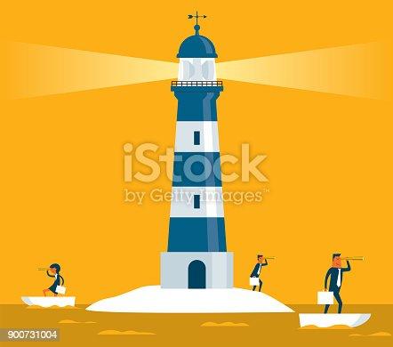 istock Lighthouse - business team 900731004