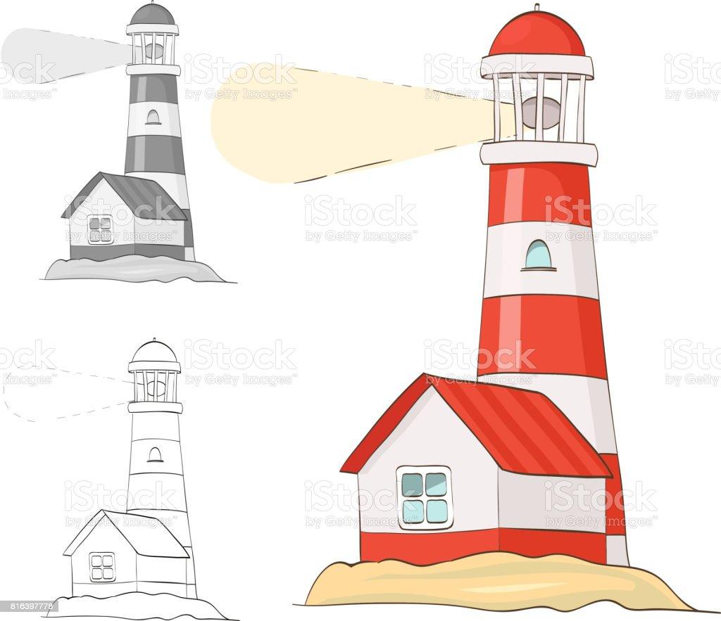 Deniz Feneri Cizgi Film Vektor Cizim Gri Tonlama Ve Boyama