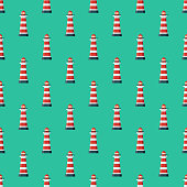 Lighthouse Christianity Seamless Pattern