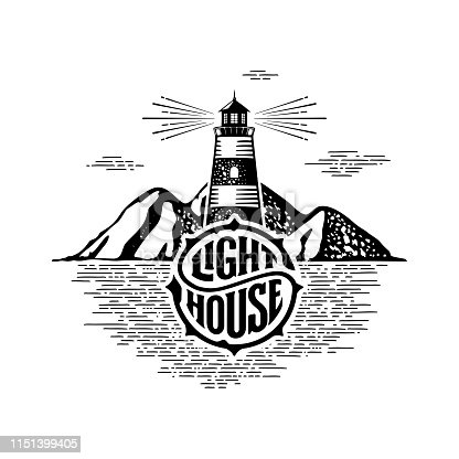 Lighthouse circle lettering mountains white Vector illustration