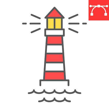 Lighthouse color line icon, sea and ocean, lighthouse vector icon, vector graphics, editable stroke filled outline sign, eps 10.