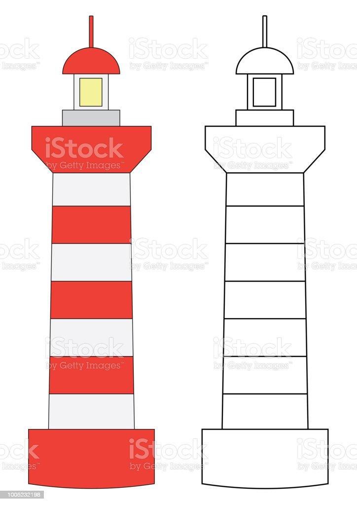 Deniz Feneri Boyama Sayfasi Cocuklar Icin Oyun Vektor Cizim Stok