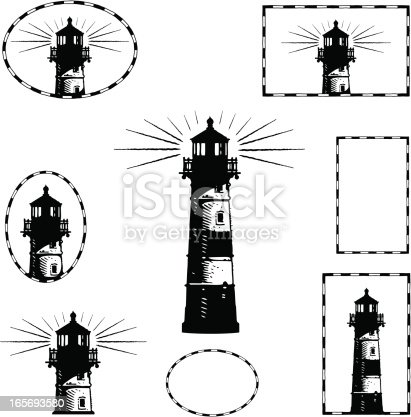 Highly stylized lighthouse illustration. Very graphic. Designed to look great at both small and large sizes. Reduces very well. Engraving/scratchboard style.
