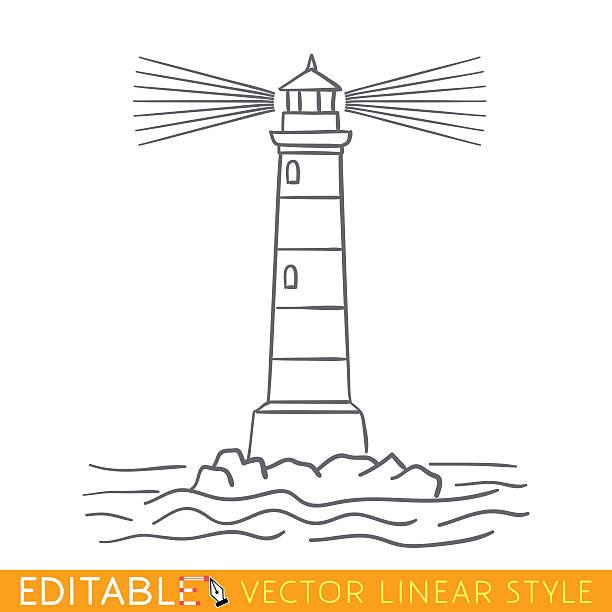 bildbanksillustrationer, clip art samt tecknat material och ikoner med lighthouse. editable outline sketch. stock vector illustration. - hand tänder ett ljus