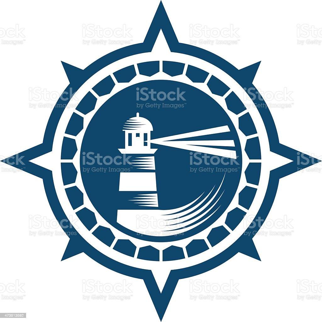 Lighthouse Emblem vector art illustration
