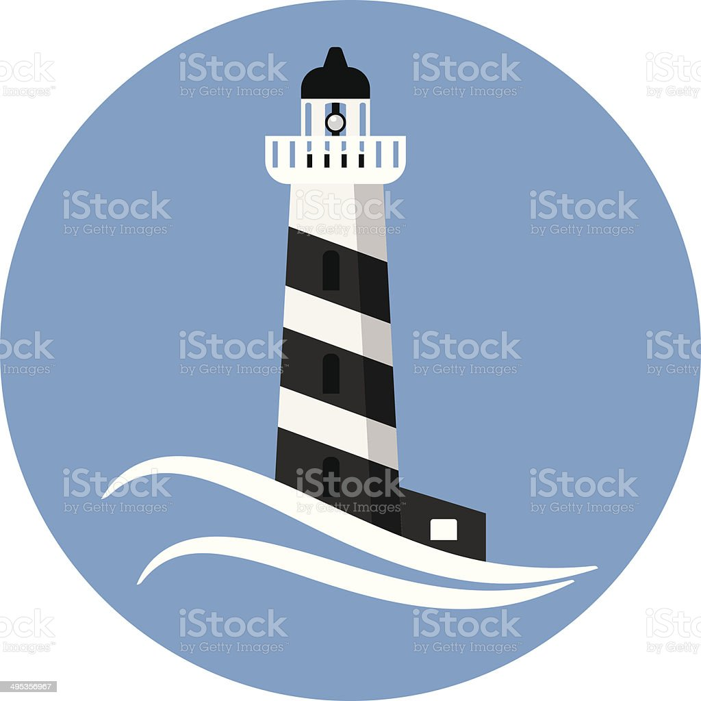 Lighthouse flat icon vector art illustration