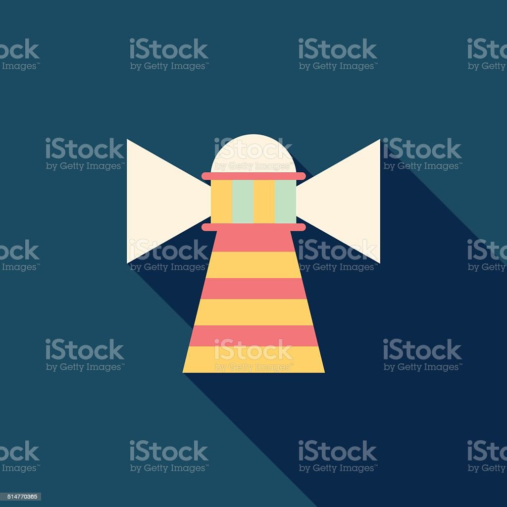 Lighthouse flat icon with long shadow vector art illustration