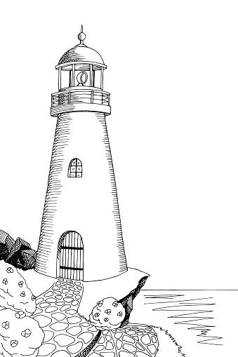 Farol De Arte Preto E Branco Desenho De Ilustração