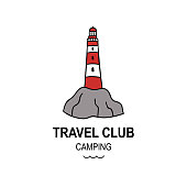 Lighthouse hand drawn graphic element. Simple doodle style vector illustration. Travel nautic club logo concept