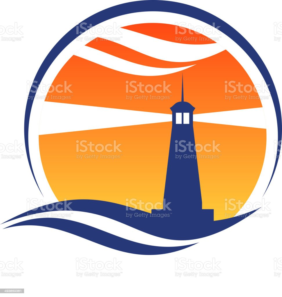 Lighthouse icon at sunset vector art illustration