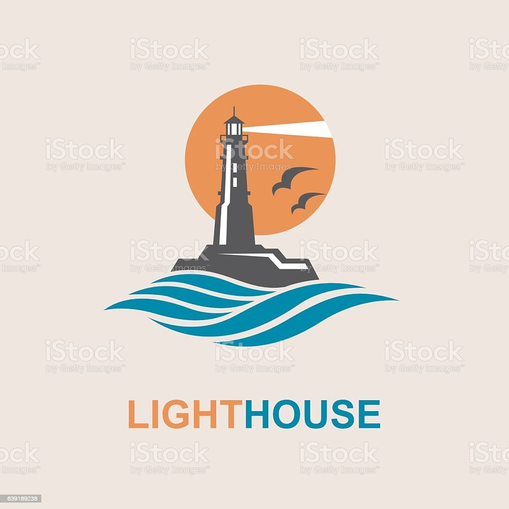 lighthouse icon design vector art illustration