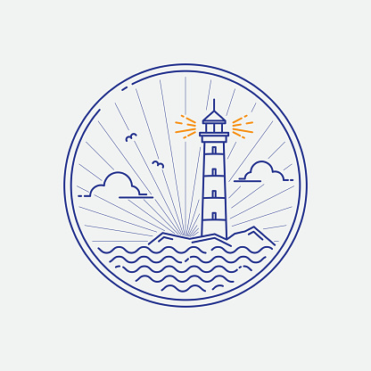 Lighthouse icon. Modern design badge, circle