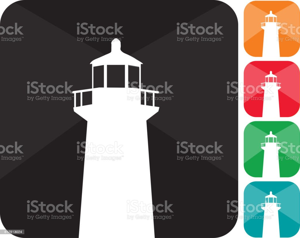 Lighthouse icon set  in multiple colors vector art illustration
