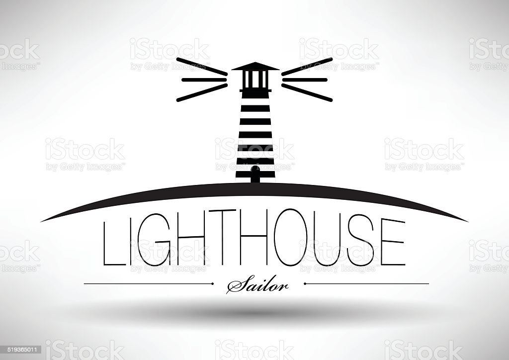 Lighthouse Icon with Typographic Design vector art illustration