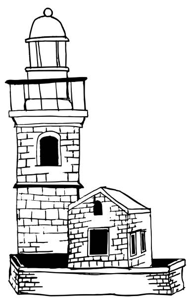 Lighthouse illustration black and white vector art illustration