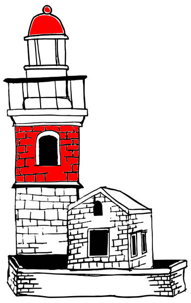 Lighthouse illustration red vector art illustration