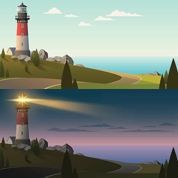 leuchtturm bei tag und nacht - buchten stock-grafiken, -clipart, -cartoons und -symbole