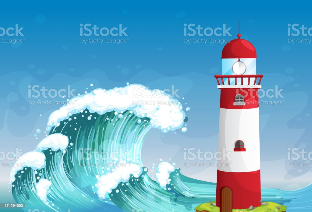 lighthouse in middle of the sea with high waves royalty-free stock vector art