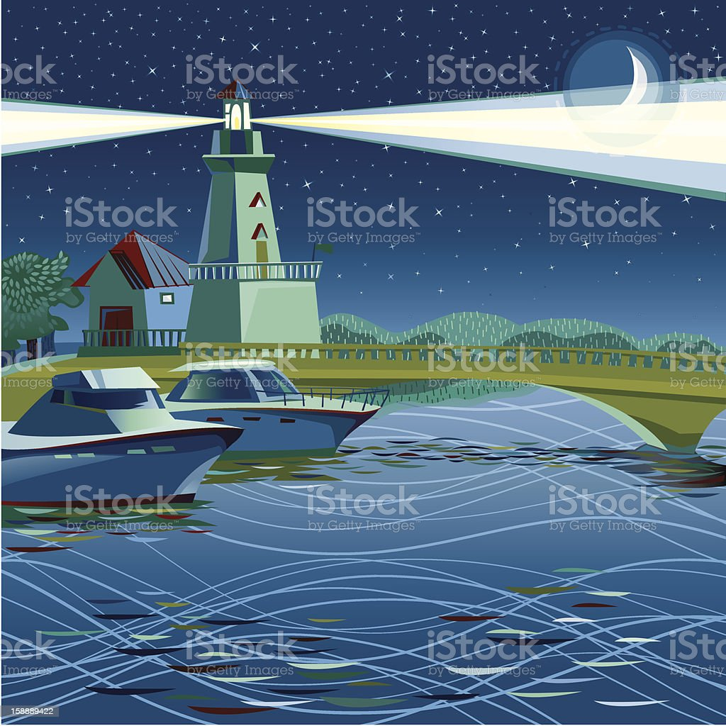 Vector illustration Lighthouse in Port Credit, Mississauga Canada.