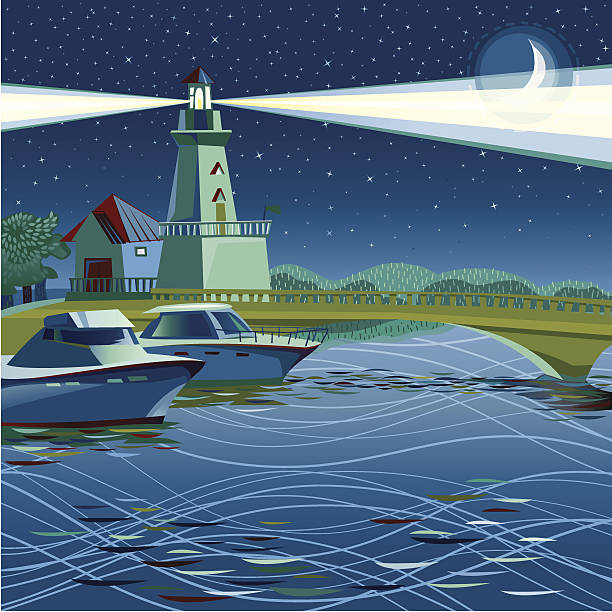 Lighthouse in Port Credit (Night) vector art illustration