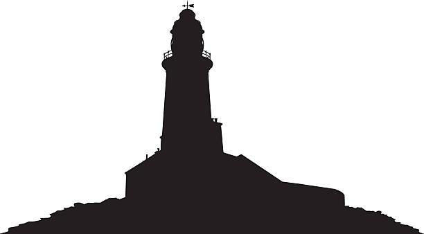 Lighthouse In Silhouette Vector Art Illustration